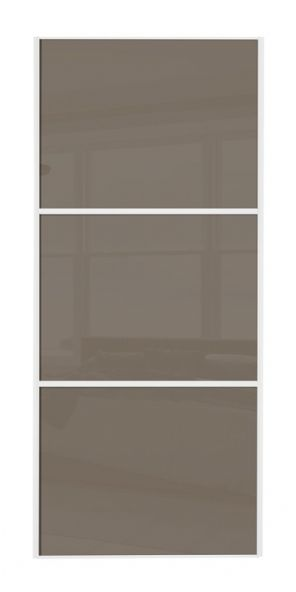 Wideline sliding wardrobe door, White frame/ Cappuccino glass